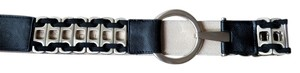 Chico's Chicos Metal and Black Leather Slouch Belt
