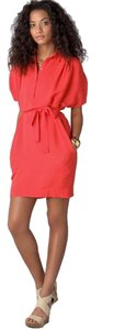 Diane von Furstenberg short dress coral red Draped Crepe on Tradesy