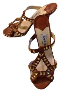 Jimmy Choo Leather Rhinestone Made In London Tan chestnut Sandals