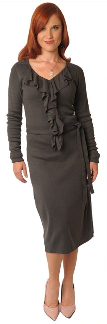 Item - Grey Beverly New Knit Sweater Ruffle Long Stretch S Above Knee Formal Dress Size 4 (S)