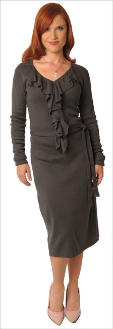 Item - Grey Beverly XS New Knit Sweater Ruffle Long Stretch Above Knee Formal Dress Size 2 (XS)