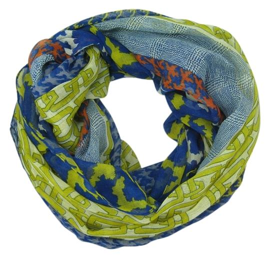 Unknown Lightweight Houndstooth and Chain Pattern Blue Infinity Scarf
