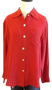 Ralph Lauren Silk Dryclean Only Made In Usa Top Red