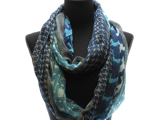 Unknown Lightweight Houndstooth and Chain Pattern Turquoise Infinity Scarf