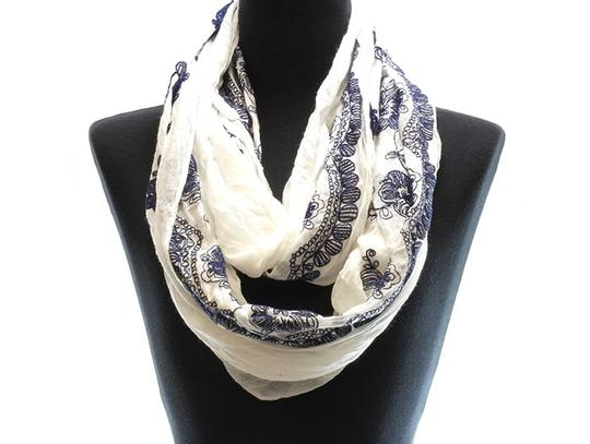 Unknown Floral Embroidery White Infinity Scarf