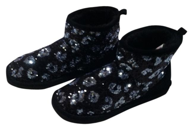 Item - Black & Silver Sequins Leopard Boots/Booties Size US 7.5