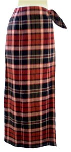 Lauren Ralph Lauren Designer Plaid Wrap Maxi Skirt Brown