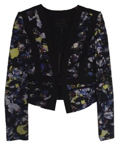 BCBG Keeley print-blocked Jacket Multi color with black trim Blazer