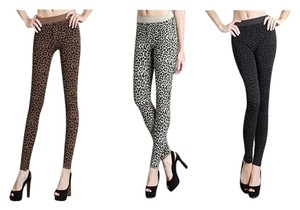 Nikibiki Leopard Beige Gray Dark Brown charcoal Leggings