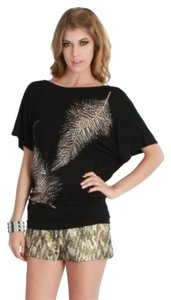 Nikibiki Gold Embellishments Top Black