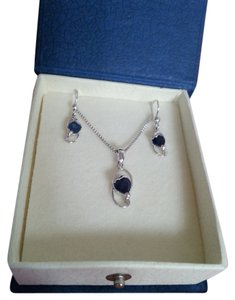 Peora Sapphire and Sterling Silver Heart Earrings and Necklace set