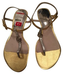 Michael Kros Gold silver leather Sandals