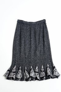 St. John Couture Knit Lace Skirt Black Silver White