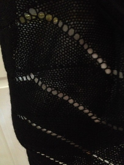 Other Black Knit Warm Mohair Scalloped Shawl