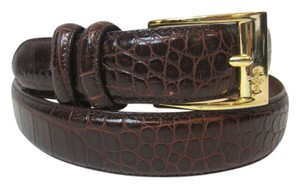 Ralph Lauren Ralph Lauren Dark Red Stamped Snakeskin Leather Belt w/ Goldtone Hardware Size M