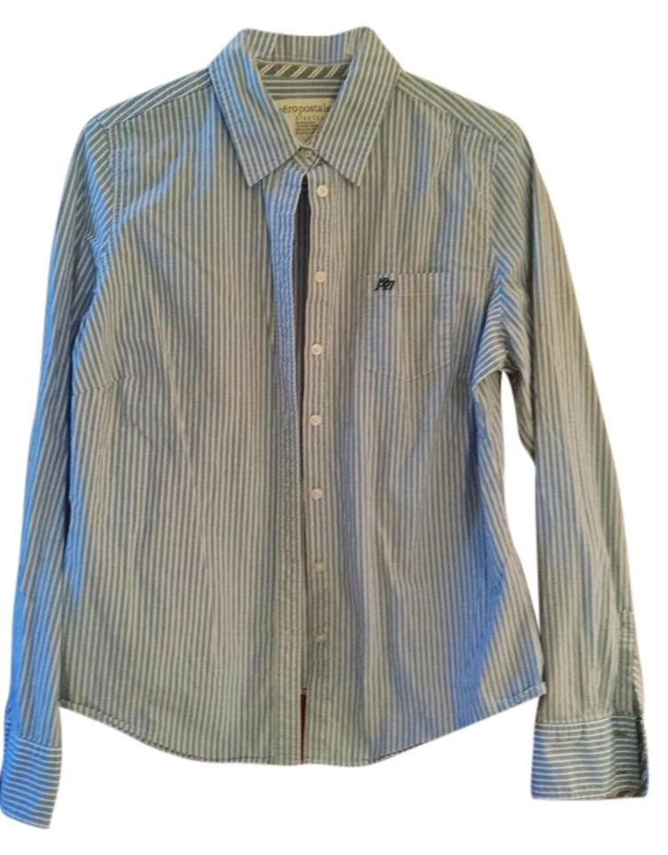 New Who What Wear Womens Blue Stripe White Button Cuff Long Sleeve Top Size XXL