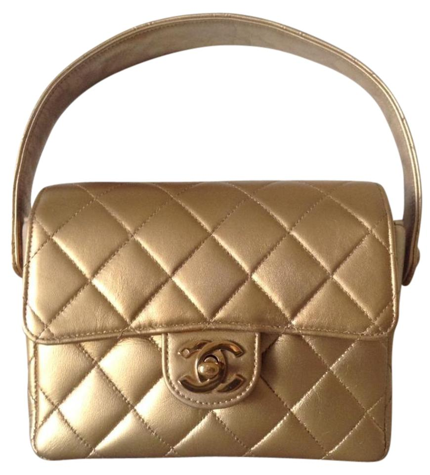 1a426acd9102 Chanel Classic Flap Metallic Kelly Style Mini Gold Leather Satchel ...