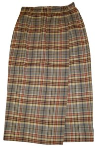 Talbots Skirt Blue Classic Checkered Tartan