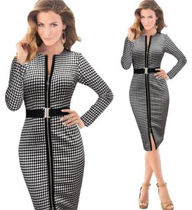 VfEmage Women Belted Check Front Zipper Slit Tunic Wear To Work Business Causal Bodycon' Dress
