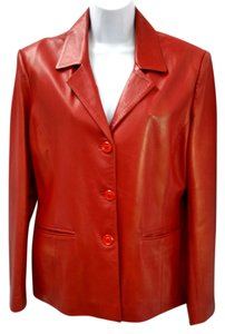 VISETTE LEATHER & FUR RED Leather Jacket
