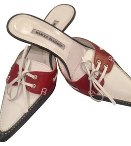 Manolo Blahnik Rare Ties Grommets RED, WHITE and BLUE Mules