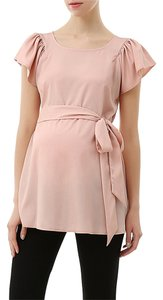Momo Maternity New with Tags- Momo Maternity Quinn Flutter Sleeve Belted Blouse Peach color Size Medium