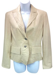 Anne Klein Beige Wrinkle Leather Jacket