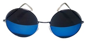 New Round Style Sunglasses Dark Blue Black Frame J1399