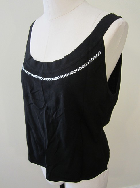 Tahair Top Black Tank with White Embroidered