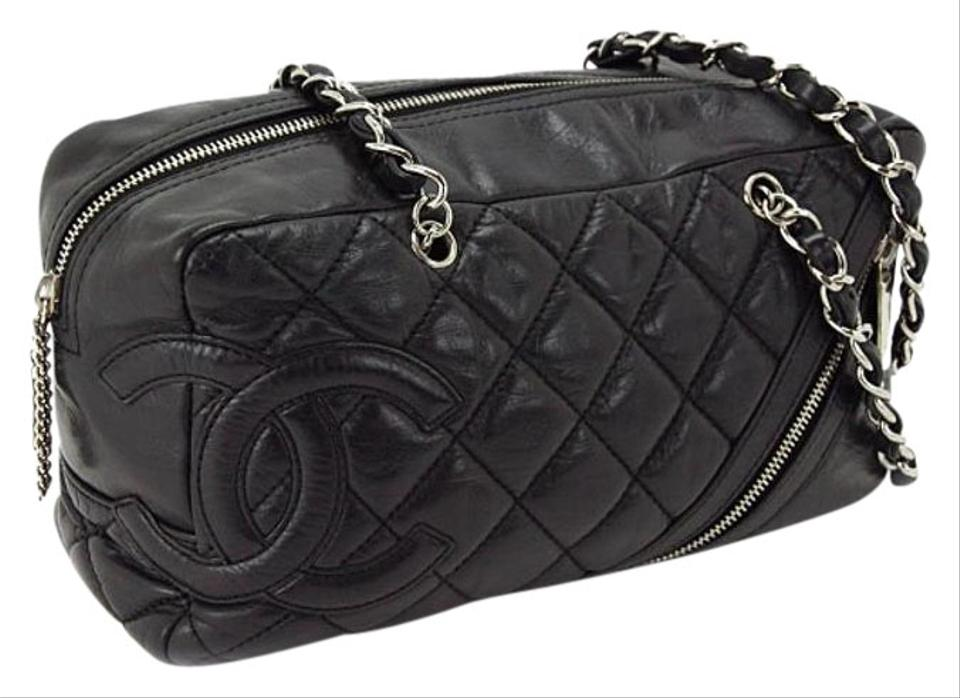 810cde0d3c9ebd Chanel Cambon Silver Chain Quilted Handbag Black Calf Leather Shoulder Bag