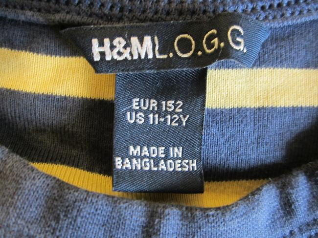 H&M Top Navy Blue & Yellow Striped