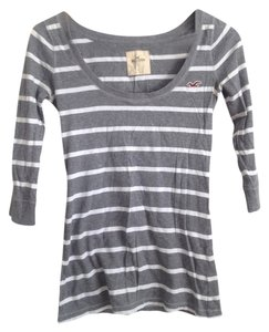 Hollister T Shirt grey white stripe