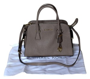 Michael by Michael Kors Pebbled Leather Satchel in Dark Dune