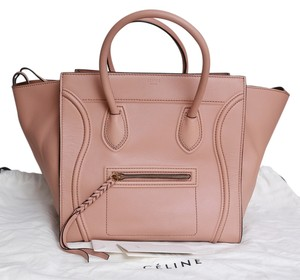 Céline Luggage Phantom Large Leather Pink Tote in Nude