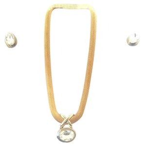Gold Colored Mesh Necklace With Faux Diamond & Matching Clip Earrings