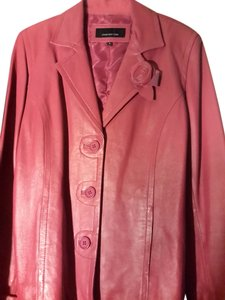 Jones New York Soft Leather Clean Magenta Leather Jacket