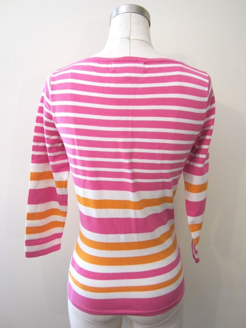 Isaac Mizrahi Top Pink/White/Orange
