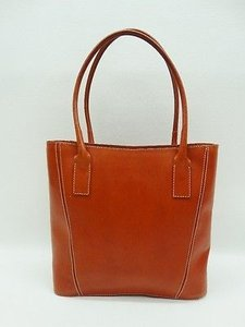 Guias Orange Leather Tote in Brown