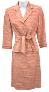 Kay Unger KAY UNGER STRIPES CORAL SKIRT SUIT 4