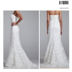David's Bridal White Satin Lace Sequin Slim Gown Feminine Wedding Dress Size Petite 6 (S)