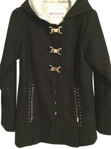 Madchen Gold Clasps Studded Hooded Pea Coat