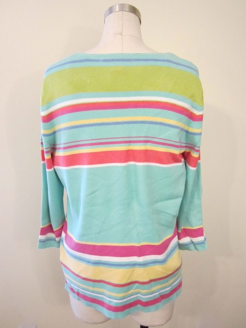 David Brooks Top Aqua, Pink & Green