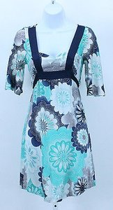 Guess short dress Navy Aqua White Gray Jeans 1 Floral Short Bell Sleeve Tie Back B237 on Tradesy