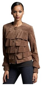 Neiman Marcus Suede Leather Tiered Ruffle Tobacco Brown Leather Jacket