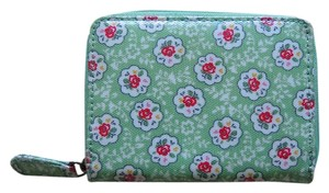 Cath Kidston Green Flower Print Small Zip Wallet