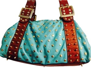 Be&D Studded Vintage Leather Shoulder Bag