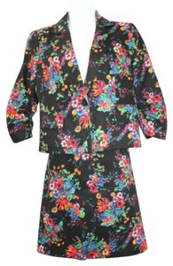 Laundry by Shelli Segal LAUNDRY BY SHELLI SEGAL FLORAL PRINT COTTON SPANDEX BLEND SKIRT SUIT 6 8