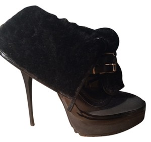 Burberry Leather Prorsum Ankle Buckle Black Boots