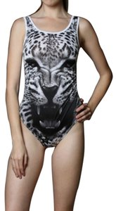 Leopard Black Bodysuit Top black, white