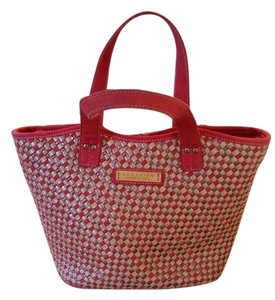 Kenneth Cole Reaction Canvas Handbag Tote in Red and Tan